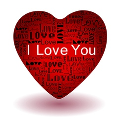valentines day-Love text in red heart vector image vector image