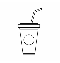 A soft drink in paper cup with lid and straw icon vector image