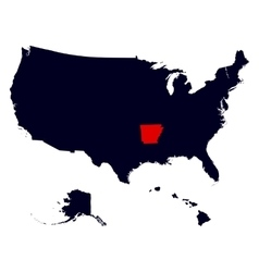 Arkansas State in the United States map vector image vector image