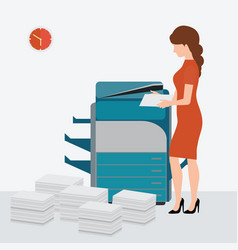 Business woman using copy print machine vector
