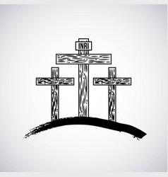 hand drawn mountain with three crosses catholic vector image