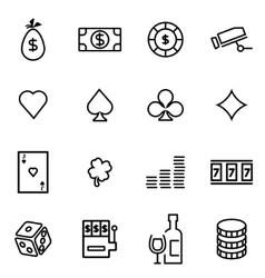 Thin line icons - casino vector