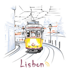 yellow 28 tram in alfama lisbon portugal vector image vector image
