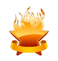 Burning star emblem vector image vector image