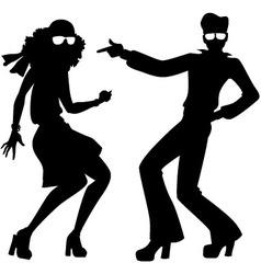 Disco dancers silhouette vector image