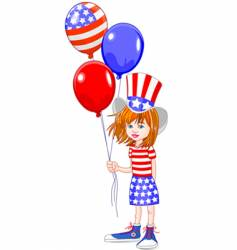 fourth of July girl vector image vector image