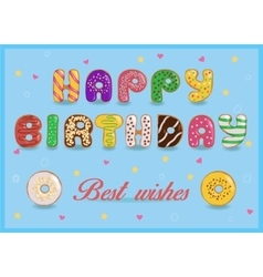 Happy birthday Sweet colorful Donuts font vector image