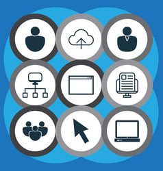 set of 9 internet icons includes program human vector image vector image