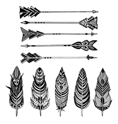 Set of Arrows and feathers on white background vector image vector image