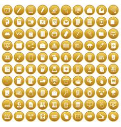 100 folder icons set gold vector