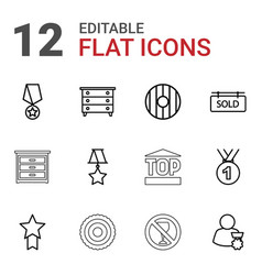 12 badge icons vector