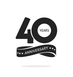 40 years anniversary logo template isolated black vector image