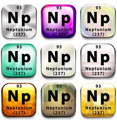 A button showing the element Neptunium vector image
