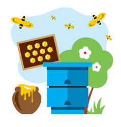 apiary flat style colorful cartoon vector image
