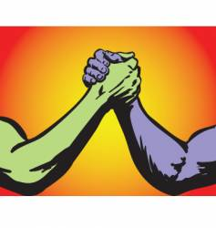 arm wrestling two color vector image