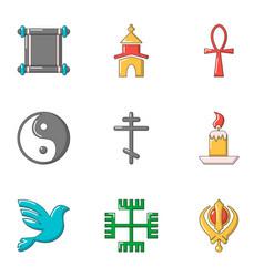 Asian style icons set cartoon style vector