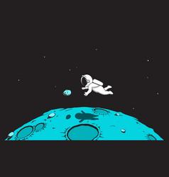 Astronaut in weightlessness vector