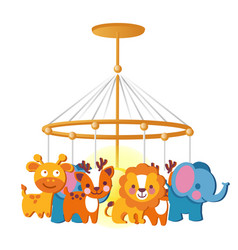 Baby carousel with hanging toys isolated on white vector