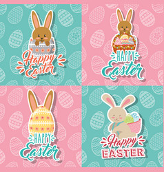 beautiful bunnies and eggs basket happy easter vector image