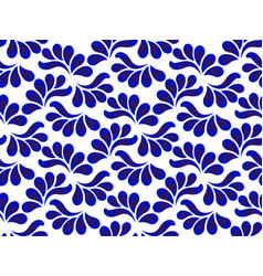 blue and white ceramic pattern with leaves vector image