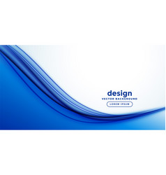 Blue smooth abstract wave banner design vector
