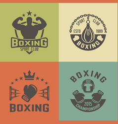 boxing martial arts vintage labels vector image