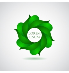 Business emblem icon of green leaves vector