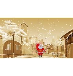 cartoon Santa Claus with gift bag walks vector image