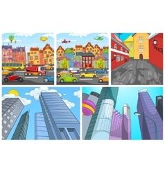 Cartoon set of city backgrounds vector