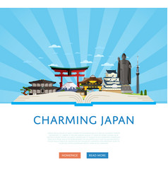 Charming japan poster with famous asian buildings vector