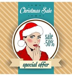 Christmas sale design with sexy Santa girl vector image