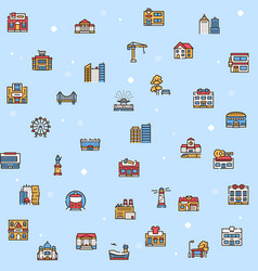 city locations color linear icons set vector image