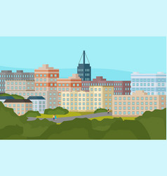 city view with urban street high buildings at vector image