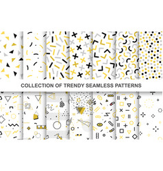 collection swatches memphis patterns - seamless vector image