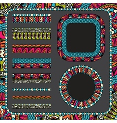 Colorful ethnicity collection ornamental stripes vector