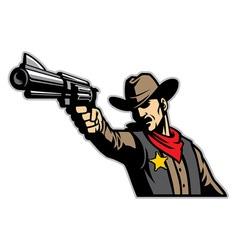 Cowboy aiming gun vector