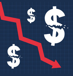 Crashed dollar sign and falling graph financial vector