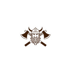 creative viking head cleavers logo vector image