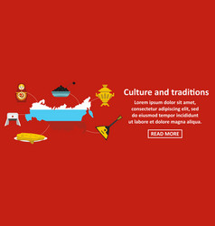 Culture and traditions russia banner horizontal vector