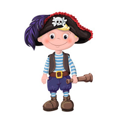 Cute boy of children pirates vector
