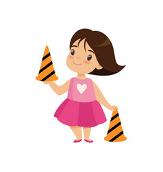 Cute girl with traffic cones education safety of vector