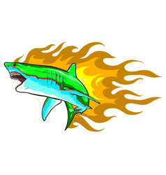 danger shark with flames for tattoo or mascot vector image