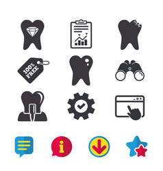 Dental care icons caries tooth and implant vector