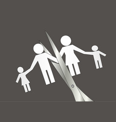 Divorce scissors cut paper silhouette family vector