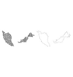 dotted contour map of malaysia vector image