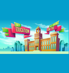 Eeducational background with university building vector