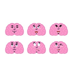 Emotions brain Set emoji avatar brains Good and vector image