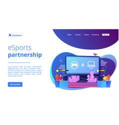 Esports collaboration concept landing page vector