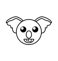 face koala animal outline vector image