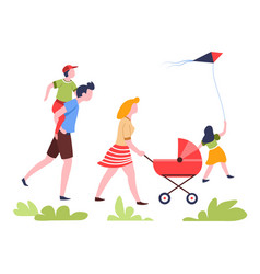 family walking in park summer outdoor activity vector image
